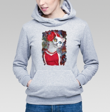 Белая кошка ко дню мертвых - Толстовка Женская серый меланж 340гр, теплая, Купить толстовки победителей
