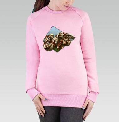 Cвитшот женский розовый  320гр, стандарт - Удав на дереве