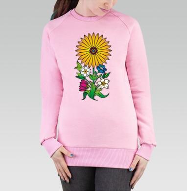 Cвитшот женский розовый  320гр, начес - Большой желтый цветок