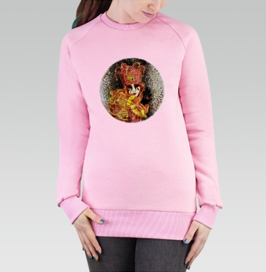 Cвитшот женский розовый  320гр, начес - Венецианский маскарад