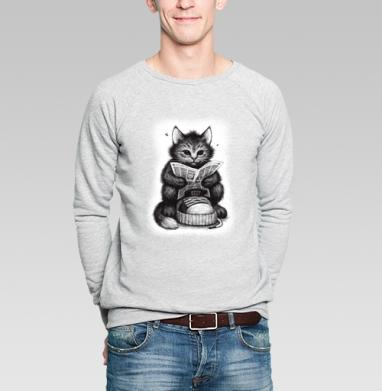Кот в ботинке, Свитшот мужской без капюшона серый меланж