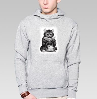Кот в ботинке, Толстовка мужская, накладной карман серый меланж