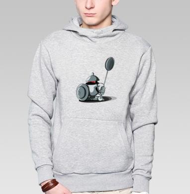 Толстовка мужская, накладной карман серый меланж - Чайник-Рыцарь