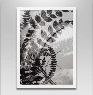 Растения - Постер в белой раме, серый