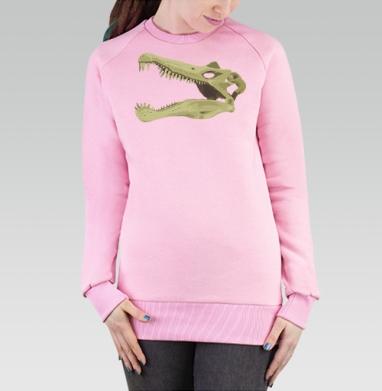 Cвитшот женский розовый  320гр, стандарт - Spinosaurus Skull