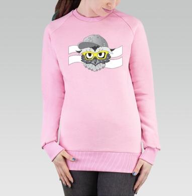Cвитшот женский розовый  320гр, начес - OWL of the new era