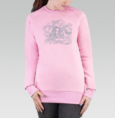 Cвитшот женский розовый  320гр, стандарт - Fish и русалочка.