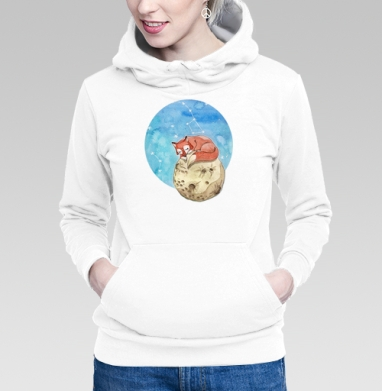 Толстовка Женская белая - Лисёнок на Луне