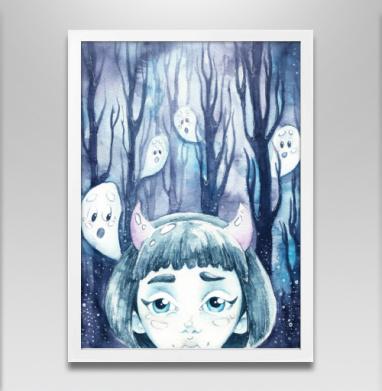 Темный лес и призраки - Постер в белой раме, деревья