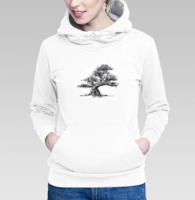 Толстовка Женская белая - Дерево и полная луна