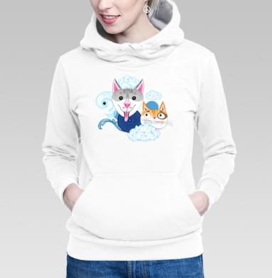 Толстовка Женская белая - Узор из собак и котов