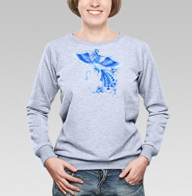Синяя птица удачи в стиле гжельской росписи - Купить детские свитшоты этно в Москве, цена детских свитшотов этно  с прикольными принтами - магазин дизайнерской одежды MaryJane