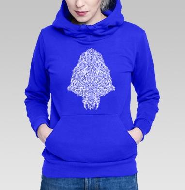 Толстовка Женская синяя - Череп пришельца