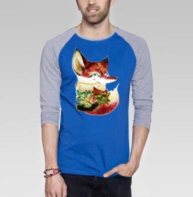 Озорная лисичка Лана - Футболка мужская с длинным рукавом синий / серый меланж, Осень
