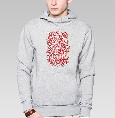 Толстовка мужская, накладной карман серый меланж, серый меланж - Футболки на заказ в Москве
