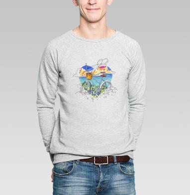 Свитшот мужской без капюшона серый меланж, свитшот серый меланж - Футболки на заказ в Москве