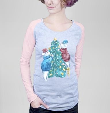 Роб, Лили и елка - Футболка женская с длинным рукавом серый меланж/розовая