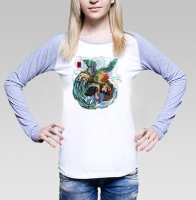 БАНЗАЙ, Футболка женская с длинным рукавом бело-серая
