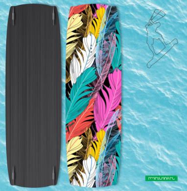 Разноцветные графические перья - Наклейки на кайтсерфинг/вэйк