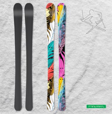 Разноцветные графические перья - Наклейки на лыжи