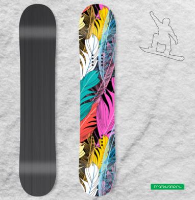 Разноцветные графические перья - Наклейки на доски - сноуборд, скейтборд, лыжи, кайтсерфинг, вэйк, серф