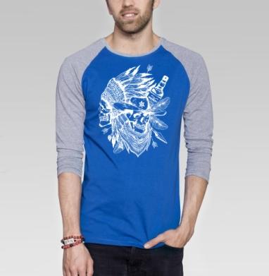 Дикий запад - Футболка мужская с длинным рукавом синий / серый меланж, индеец, Популярные