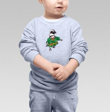 Cвитшот Детский серый меланж - Рождественский пингвин
