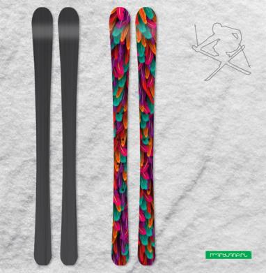 Разноцветные перья - Наклейки на лыжи