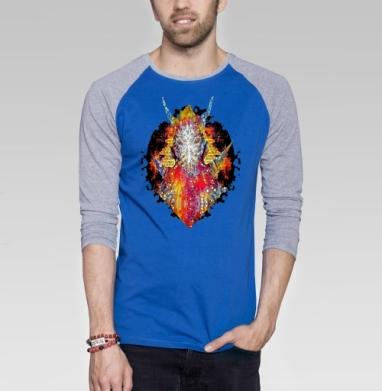 Сатир - Футболка мужская с длинным рукавом синий / серый меланж, психоделика, Популярные