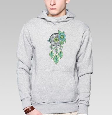 Цветочный Ловец, Толстовка мужская, накладной карман серый меланж