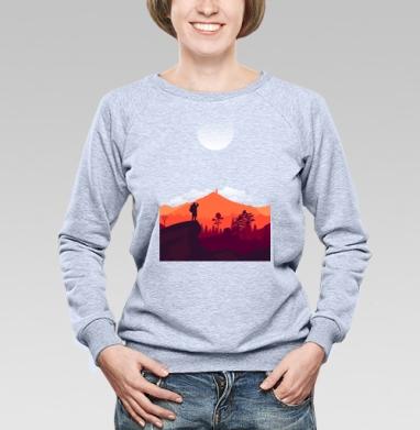 Турист, Cвитшот женский, толстовка без капюшона  серый меланж