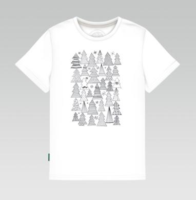 Детская футболка белая 160гр - Ёлки