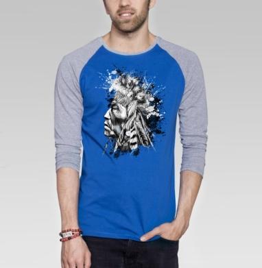 Индеец - Футболка мужская с длинным рукавом синий / серый меланж, военные, Популярные