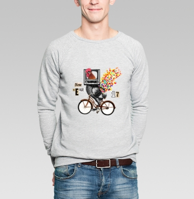Велоретропетух - Купить мужские свитшоты с велосипедом в Москве, цена мужских  с велосипедом  с прикольными принтами - магазин дизайнерской одежды MaryJane