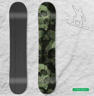 Череп. Хаки - Сплошные наклейки сноуборд c черепами