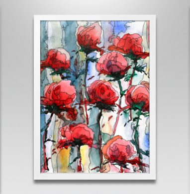 Розы - Постер в белой раме, текстура