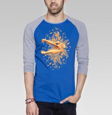 Золото Юрского Периода - Футболка мужская с длинным рукавом синий / серый меланж, череп, Популярные