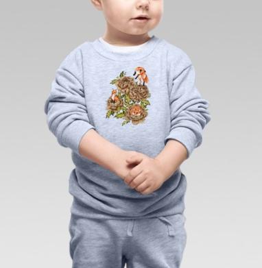 Cвитшот Детский серый меланж - Цветочные лисы