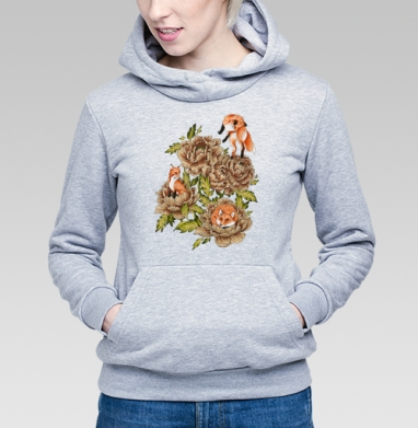 Цветочные лисы, Толстовка Женская серый меланж 340гр, теплый