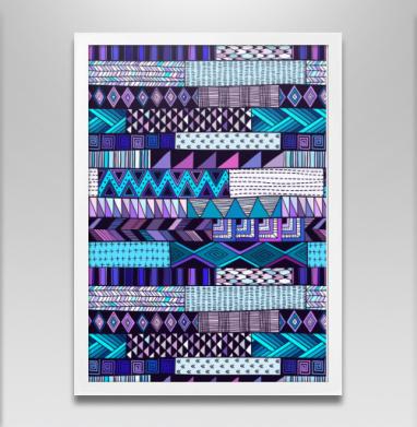 Полосатый узор. Синие тона - Постеры, геометрия, Популярные