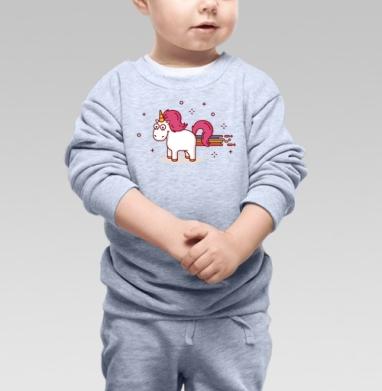 Cвитшот Детский серый меланж - Счастливый единорог