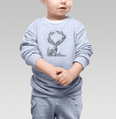 Винторогий олень - Cвитшот Детский серый меланж, Новинки