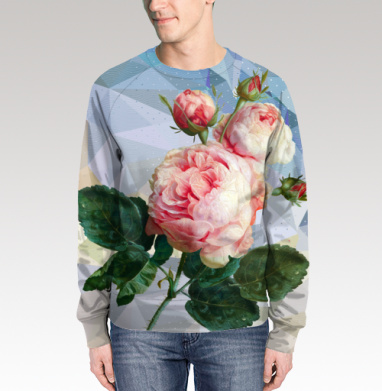 Розовая роза на геометрическом фоне, Свитшот мужской 3D
