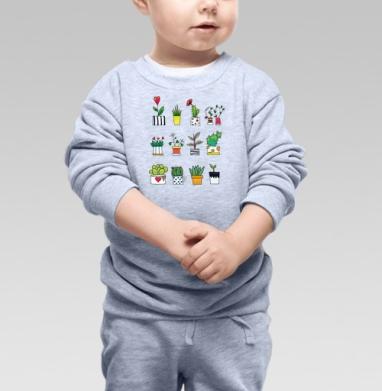 Цветки в горшках - Cвитшот Детский серый меланж, Новинки