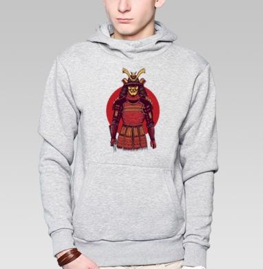 Броня самурая, Толстовка мужская, накладной карман серый меланж