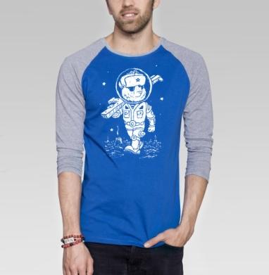 Партизан  - Футболка мужская с длинным рукавом синий / серый меланж, военные, Популярные