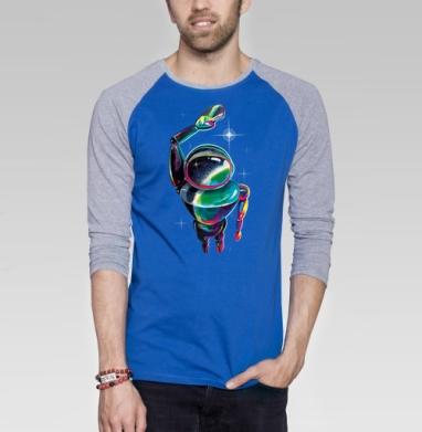 Космический посланник - Футболка мужская с длинным рукавом синий / серый меланж, акварель, Популярные