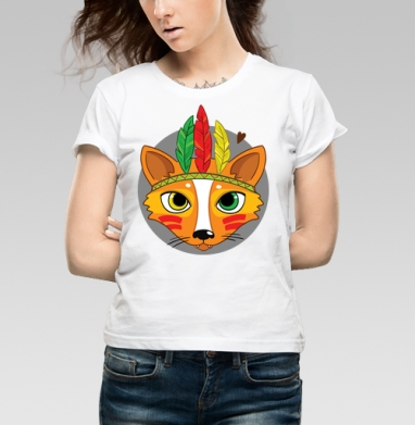Фокс - Купить детские футболки с индейцами в Москве, цена детских футболок с индейцами  с прикольными принтами - магазин дизайнерской одежды MaryJane
