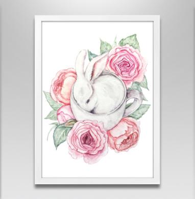 Белый кролик в чашке - Постеры, нежность, Популярные
