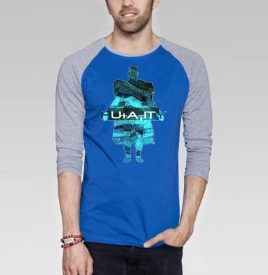 Человечество - Футболка мужская с длинным рукавом синий / серый меланж, психоделика, Популярные
